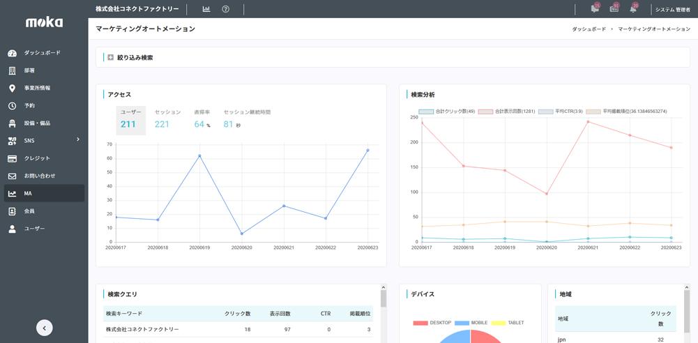 mokaーWeb解析画面